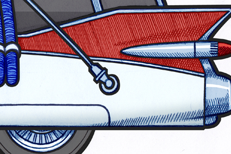 Close up detail of 451 picture of a detail of a 1959 Cadillac Miller-Meteor