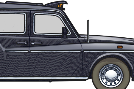 Close up detail of a 1990 Fairway London Taxi Cab