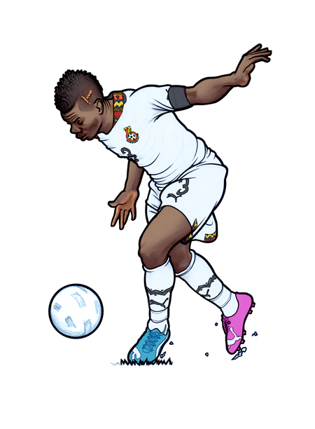 451 illustration of Ghanaian Black Stars captain and international Asamoah Gyan